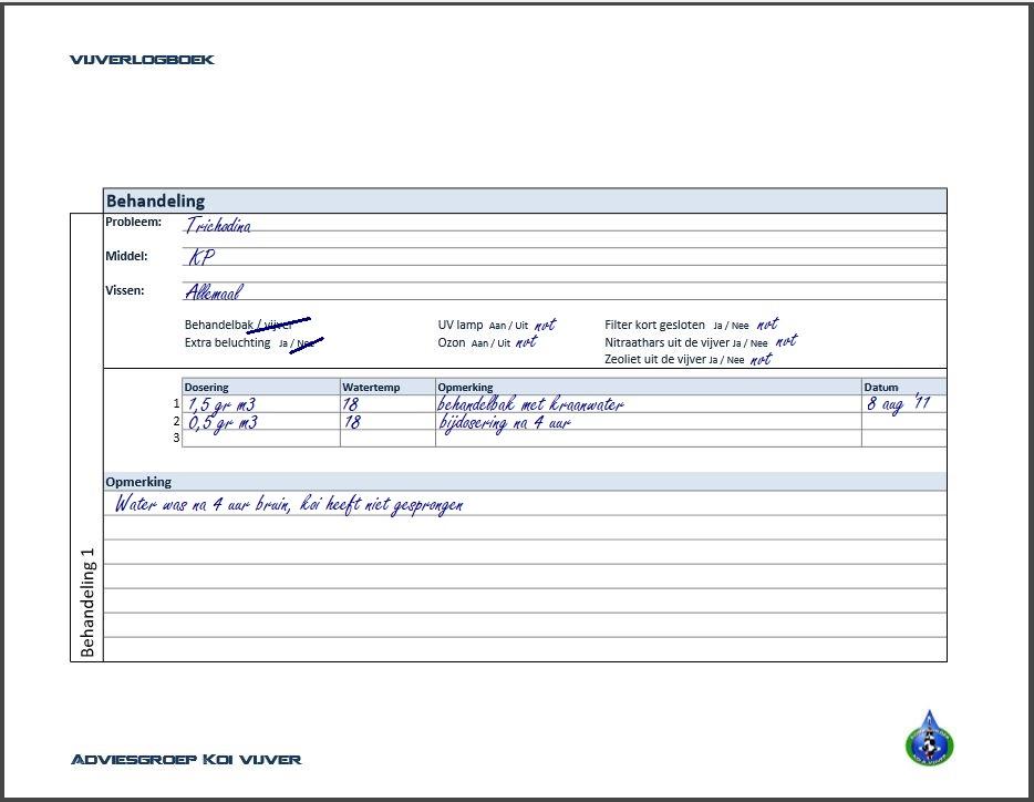 logboek Adviesgroep Koi en vijver - pagina behandeling