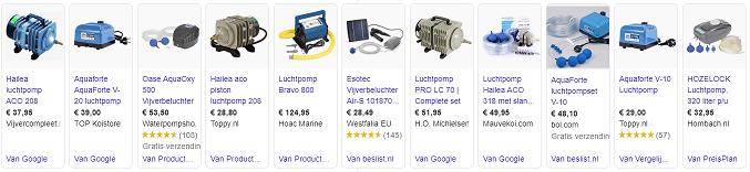 Google zoekresultaat luchtpomp (bron: Google)
